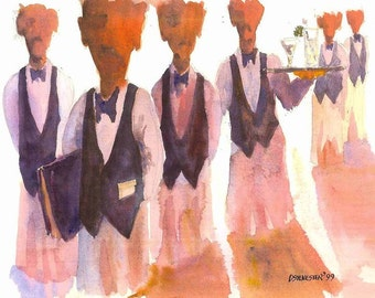 1999 Waiters watercolor print from original by seller, signed
