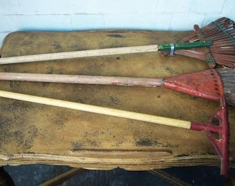 Antique Toy Garden Rake, Toy Leaf/ Yard Rake, and Toy Broom – 50's