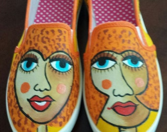 Hand Painted Shoes - Rose