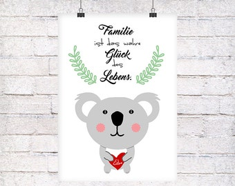 Koala gift family art print, fine art print
