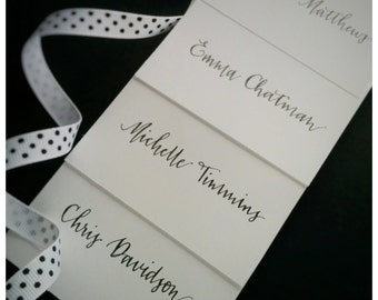 Hand written place cards - Black sparkly ink on white card stock - modern script