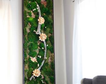 "Moss Wall Art ~ Moss Art Work ~ REAL Preserved Moss ~ No Maintenance Required ~ 72""x18"" ~ ""Milky Magnolia"""