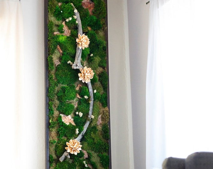 "Moss Wall Art ~ Moss Art Work ~ REAL Preserved Moss ~ No Maintenance Required ~ 72""x18"" ~ ""Milky Magnolia"""