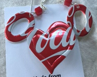 Recycled Coke Can Earrings and Pin