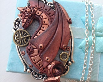 Steampunk dragon,polymer clay pendant,necklaces with charms,gift for her,dragons,clay miniatures,cernit,pendants with dragons