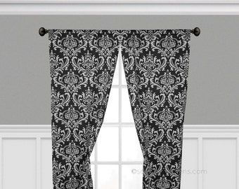 Curtain Panels Black and White Curtains Window Treatments Custom Drapes Living Room Dining Room Decor