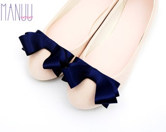 Elegant navy blue satin bows - shoe clips Manuu