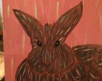 Bunny Rabbit Painting, Original Acrylic on Canvas