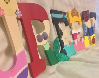 PRINCESS CHARACTERS Hand-Painted 9- Inch Wooden Letters