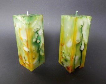 Decorative candle, Handmade Candle, Green Candle, Square Candle, Marbled Candle,