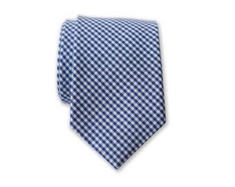25% OFF TIE SALE! Blue Gingham Necktie,Skinny Necktie, Blue Skinny Tie, Cotton Skinny Tie