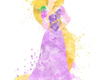 Disney Inspired Rapunzel Watercolour 8 x 6 Print