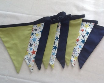 Retro Stars Blue and Green Fabric Bunting