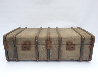 Vintage Old Trunk Chest Coffee Table Ottoman Storage