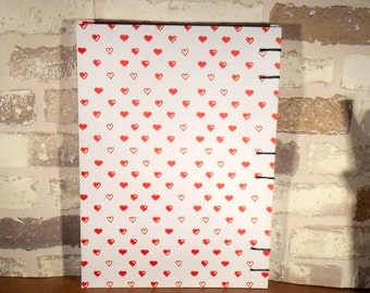 Notebook A5 - heart red and white / / journal / / gift for you / / girlfriend / / Valentine's day / / mother's day