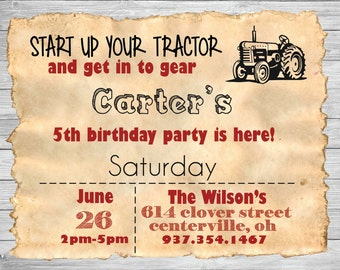Tractor Themed children's birthday invitation