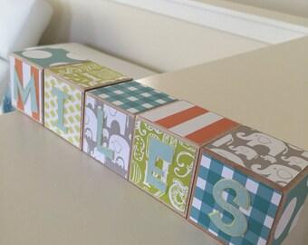 "2"" Custom Baby Name Wood Blocks - Nursery Baby Boy or Girl Shower Gift Baby Blocks Personalized"