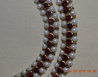 Handmade anklets with pearls and red stone