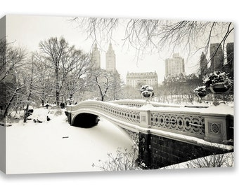 New York City Central Park Winter Snow Canvas Wall Art