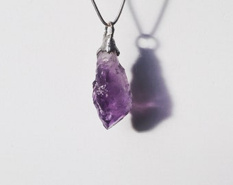 Amethyst Drop Raw Pendant with Silver Chain or Leather Necklace