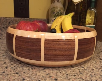 Beautiful Handmade Maple and Walnut Wooden Bowl Turned Segmented