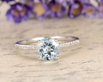 Aquamarine engagement ring with diamond,Solid 14k White gold, classic design,promise ring for her.6.5mm round aquamarine anniversary ring