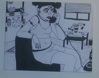 Hello? (Drawing on canvas)