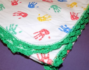 Baby Blanket - Colored Hands with Green Edging