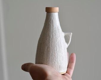 Hand Made Oil Bottle, Ceramic Oil Bottle, Olive Oil Bottle, White Bottle, Pottery, Wheel Thrown Pottery, Hand Made Pottery