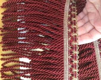 3 yards Heavy 6 inch Burgundy Gold Bouillon Fringe Cord Trim Upholstery Decor