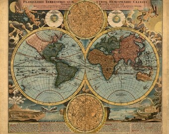 Digital old world map hight printable - poster