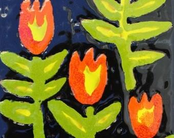 Tulips,  Ceramic Tile, Hand Painted, HandmåladKakelplatta,  One of a Kind, Original design,