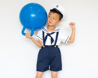 Toddlers and Boys Nautical Marine Sailor Shorts Suit Costume with Hat, Birthday Halloween