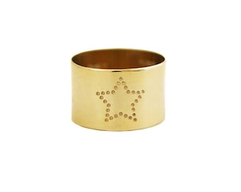 Handcrafted Star Wide Ring Band