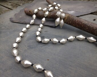 Long Limbolli Silver necklace - large limbolli silver beads