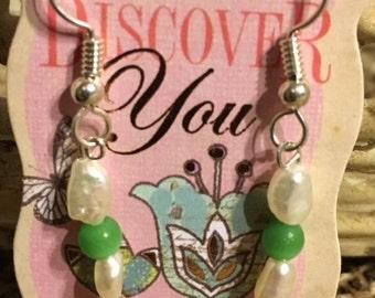 Freshwater Pearl and Cat's Eye Sterling Silver Earrings