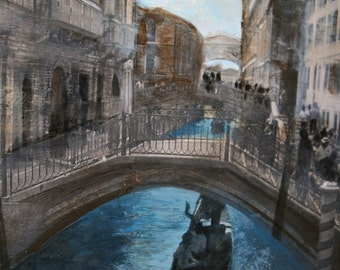 """Travel Series: Canal in Venice, Italy (Mixed Media Original, 18x24"""")"""