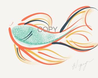 Original illustration, colourful fish print, printable art, instant download