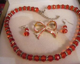 Lovely Necklace & Earrings Plus Vintage Brooch