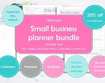 Business planner printable. Small business management planner bundle. Etsy sellers binder. US Letter size. Business & finances management.