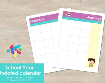 """Printable School Year undated calendar, months 2 pages spread. US Letter Size 8.5""""x11"""". Monthly Calendar planner insert. School year plan."""