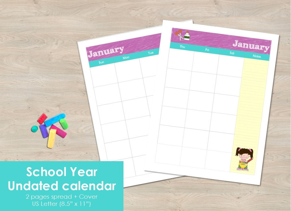 Undated Weekly Calendar : Printable school year undated calendar months pages spread