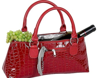 Red and Black Croc Insulated Single Bottle Wine Clutch