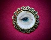 Lover's Eye (Eye Miniature) Handmade, Antique Bronze Brooch, Memento Mori, Georgian, Victorian, Custom