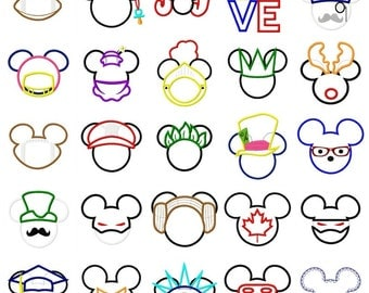 Huge set of 73 Mickey and Minnie embroidery designs, Mickey applique design, minnie applique design, mickey mouse embroidery design