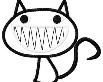 black cat embroidery design, black cat applique design, Cheshire cat embroidery, cheshire cat applique