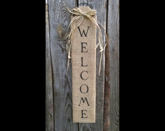 Welcome wall decor, wall decor, door decor, welcome sign, burlap sign, welcome