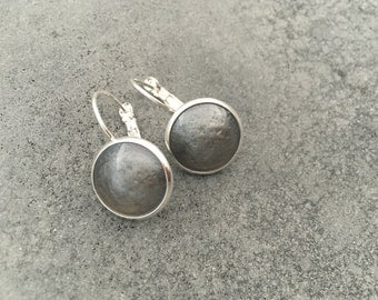Smokey Silver Grey Dainty Cabachon French Lever Drop Earrings, Resin Earrings