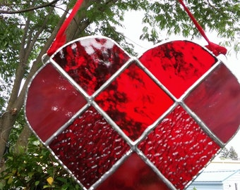 Stained Glass Heart - Red