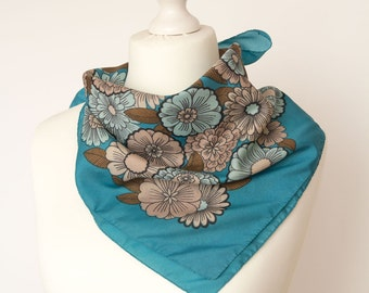 """vintage Square scarf, retro scarf, polyester scarf, fabric women scarf shawl 65x65cm / 26x26"""" floral brown blue turquoise"""